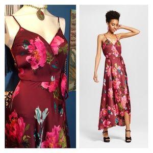 Floral Satin Surplice Deep V Maxi Slip Dress Boho